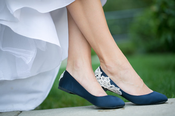 Navy Blue Bridal Flats with Floral Applique