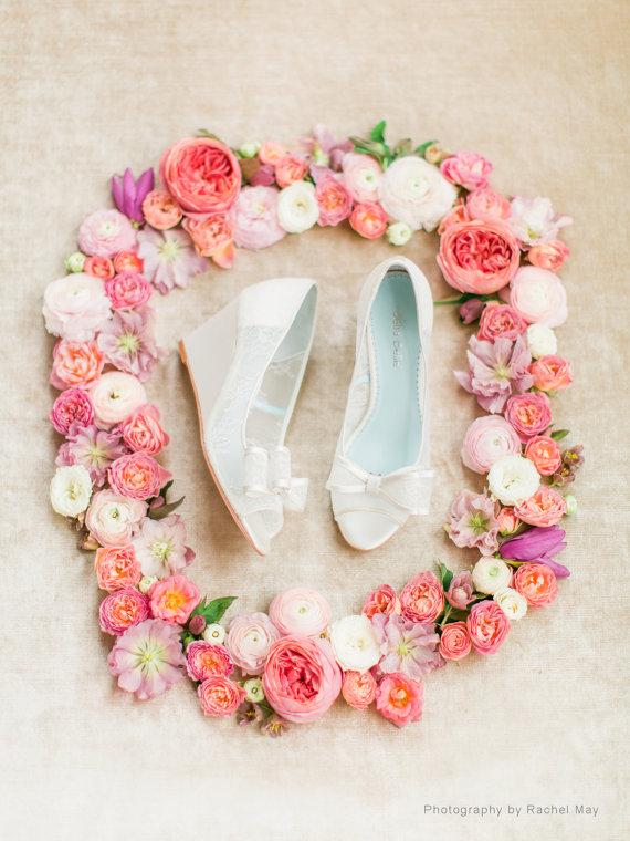 White Lace Peep Toe Bridal Wedges