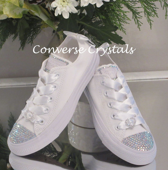 White Bridal Converse with Crystals