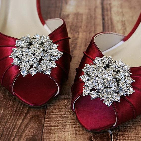 Dark Red Wedding Heels