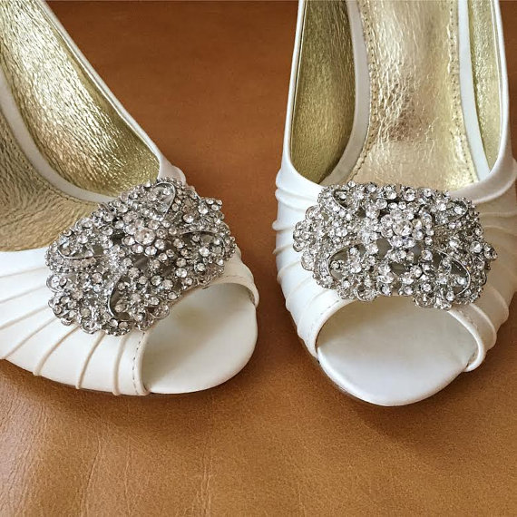 Ivory Rhinestone Peep Toe Bridal Heels