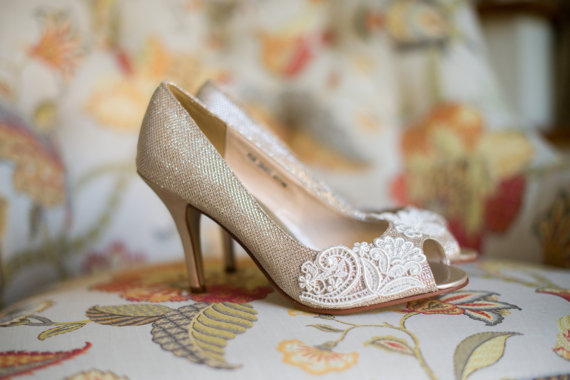 Champagne Gold Bridal Low Heels with White Floral Lace Applique