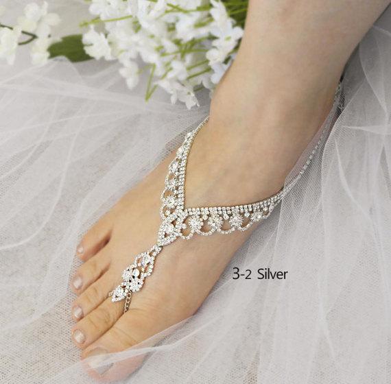 Rhinestone Barefoot Beach Bridal Shoes