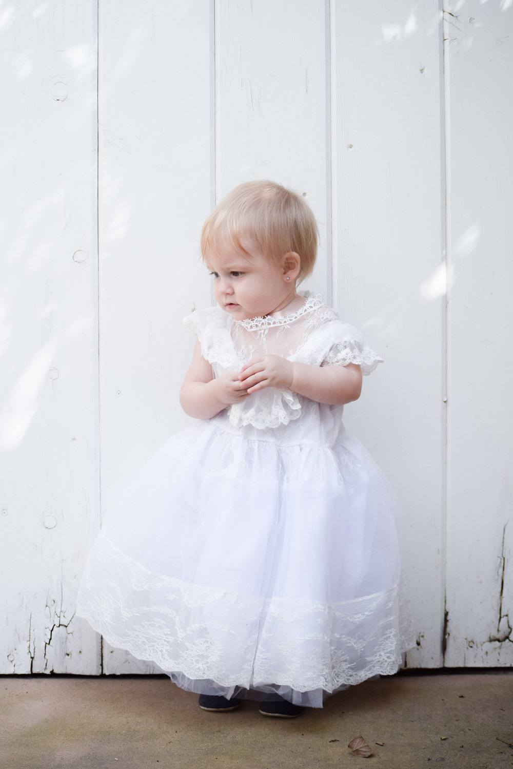 White Vintage Lace Flower Girl Dress - The Hair Bow Company