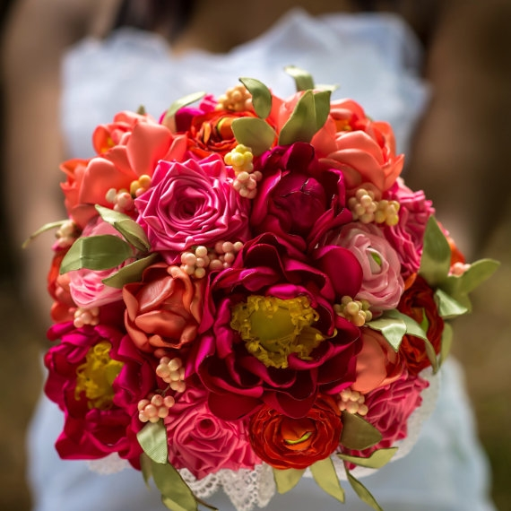 Silk Bridal Bouquet - Red, Orange and Peach Silk Bridal Bouquet