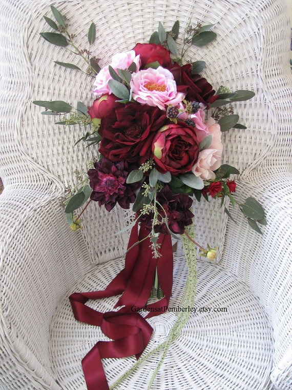 Silk Bridal Bouquet - Maroon Silk Bridal Bouquet