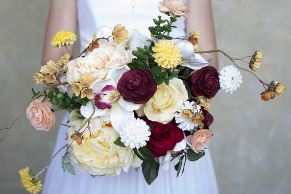 Silk Bridal Bouquet - Maroon and Yellow Silk Bridal Bouquet