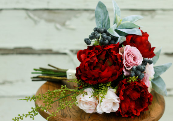 Silk Bridal Bouquet - Red, Pink and Berry Silk Bridal Bouquet