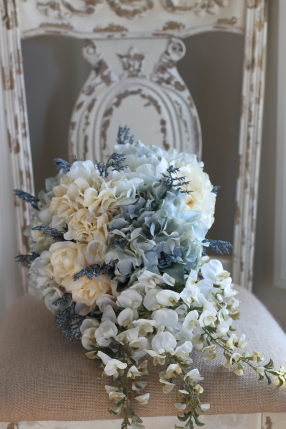 Silk Bridal Bouquet - Light Blue and White Silk Bridal Bouquet
