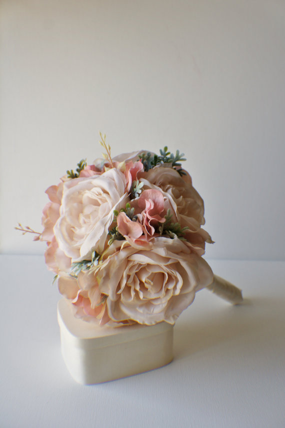 Silk Bridal Bouquet - Peach Silk Bridal Bouquet