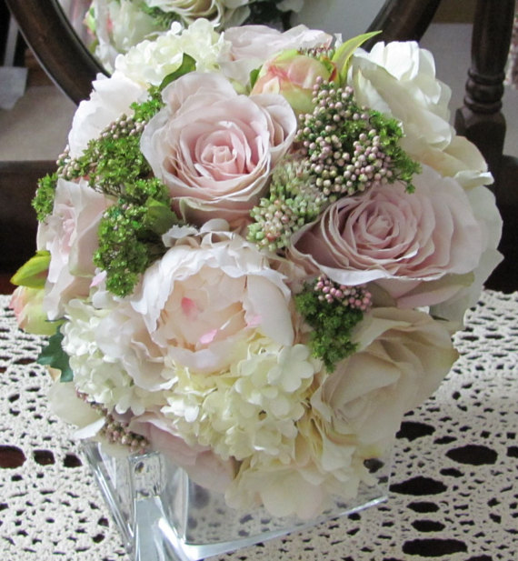Silk Bridal Bouquet - Light Pink and White Silk Bridal Bouquet