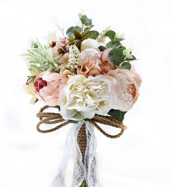 Silk Bridal Bouquet - White and Peach Silk Bridal Bouquet