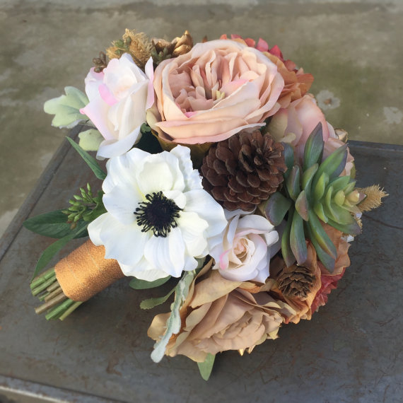 Silk Bridal Bouquet - Peach and White Silk Bridal Bouquet
