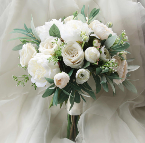 Silk Bridal Bouquet - White Peony Silk Bridal Bouquet