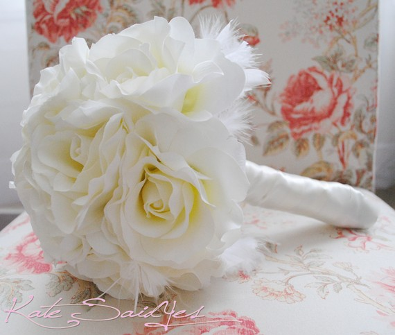 Silk Bridal Bouquet - White Silk Bridal Bouquet