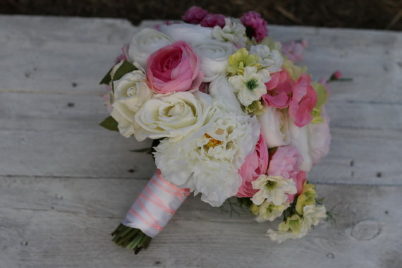 Silk Bridal Bouquet - White and Pink Silk Bridal Bouquet