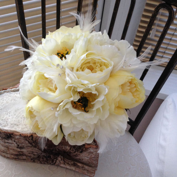 Silk Bridal Bouquet - Ivory Peony Silk Bridal Bouquet