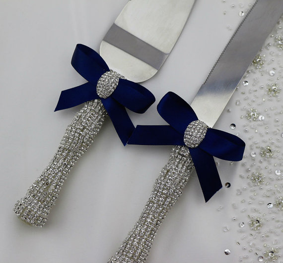Crystal Handle Wedding Cake and Knife Servers