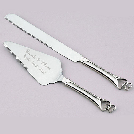 Silver Engraved Wedding Cake and Knife Servers