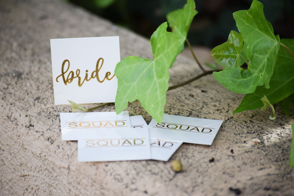 The Bridal Boutique | Gold Bridal Party Tattoos by Black Label Decor