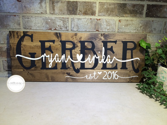 Custom Wooden Wedding Last Name Sign