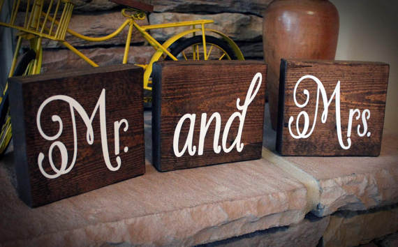 Wooden Mr and Mrs Wedding Signs