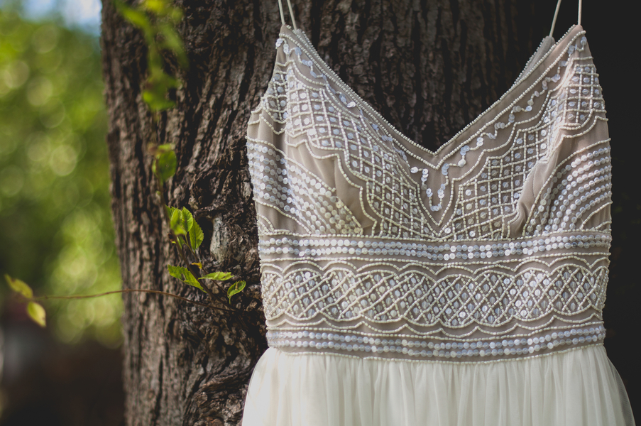 Beaded Wedding Dress with Flowy Skirt - A Forest Wedding Ceremony - Melissa Cervantes Photography