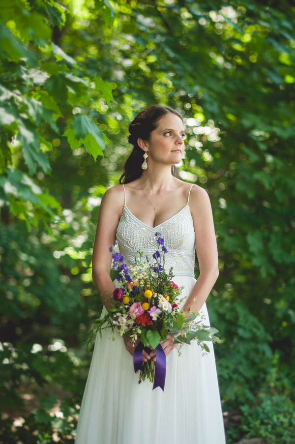 Beaded Wedding Dress - Wild Flower Bouquet - A Forest Wedding Ceremony - Melissa Cervantes Photography