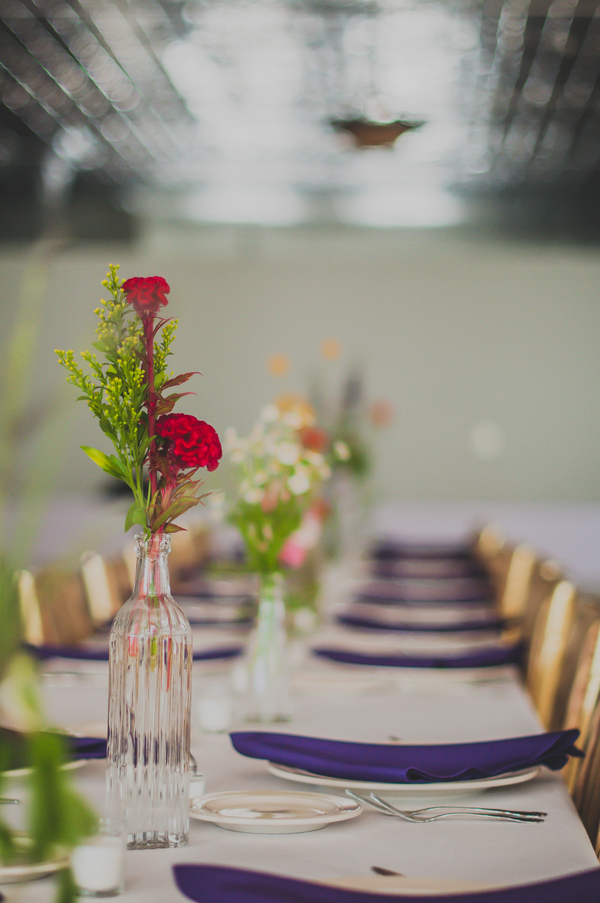 Simple Wildflower Wedding Centerpieces - The Loft on Jefferson Wedding, Iowa Wedding Venue - Melissa Cervantes Photography