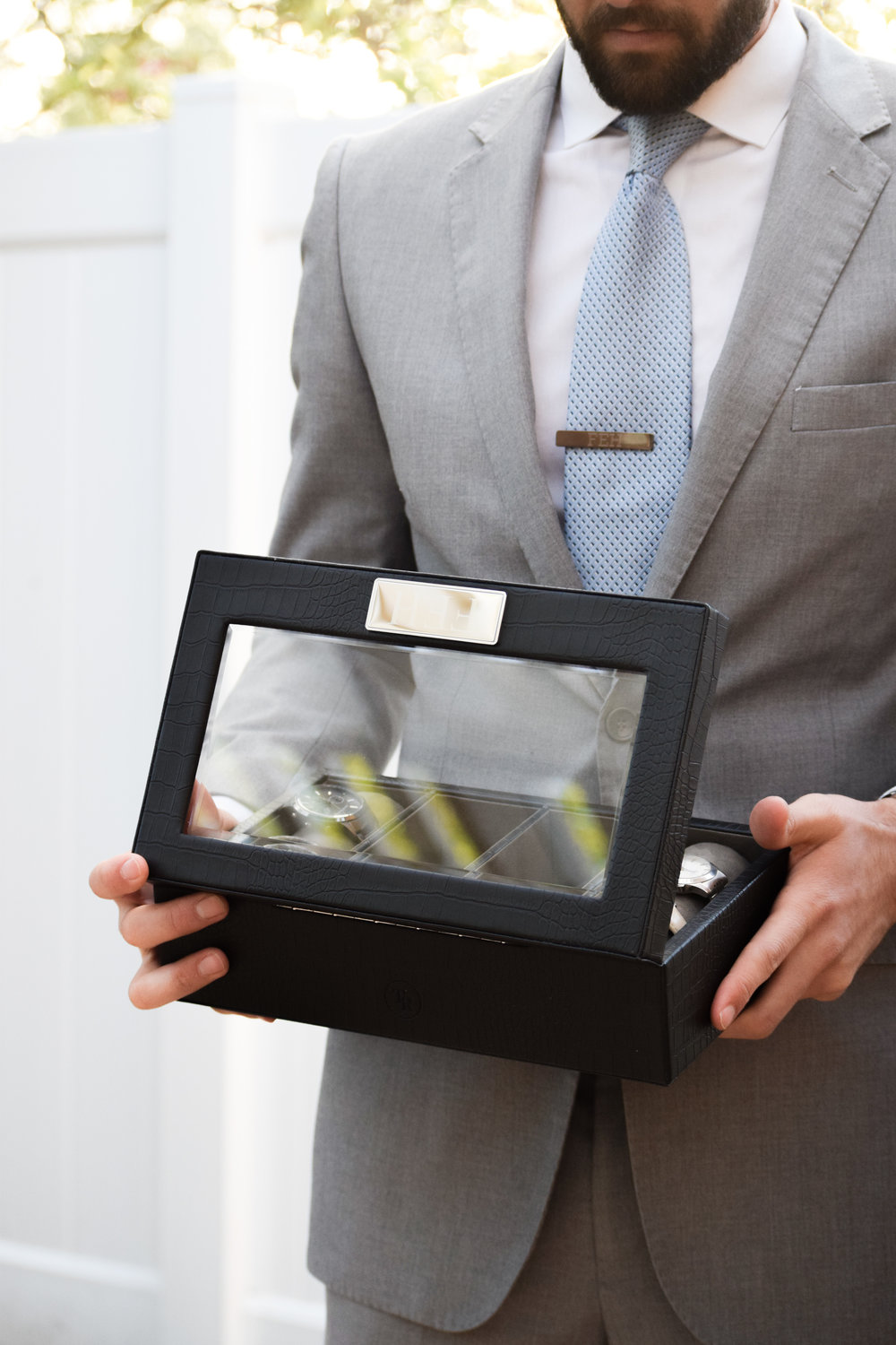Groomsman Proposal Gift Ideas -- Engraved Groomsman Watch Box Valet Box - Things Remembered