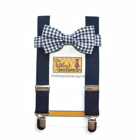 Navy Plaid Bow Tie - Unique Groom + Groomsman Bow Ties