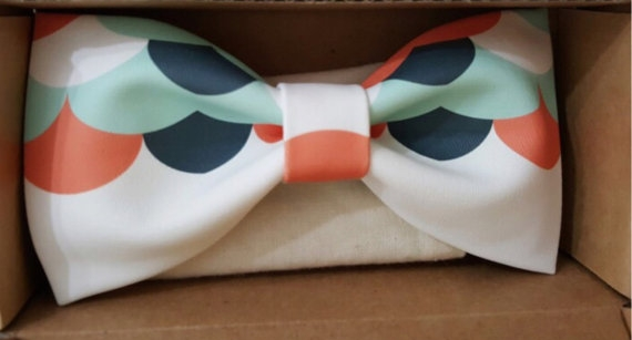 Navy Orange and Teal Bow Tie - Unique Groom + Groomsman Bow Ties