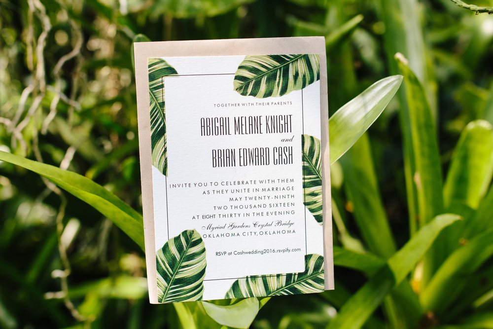 Tropical Wedding Invitations - A Tropical Botanical Gardens Budget Wedding