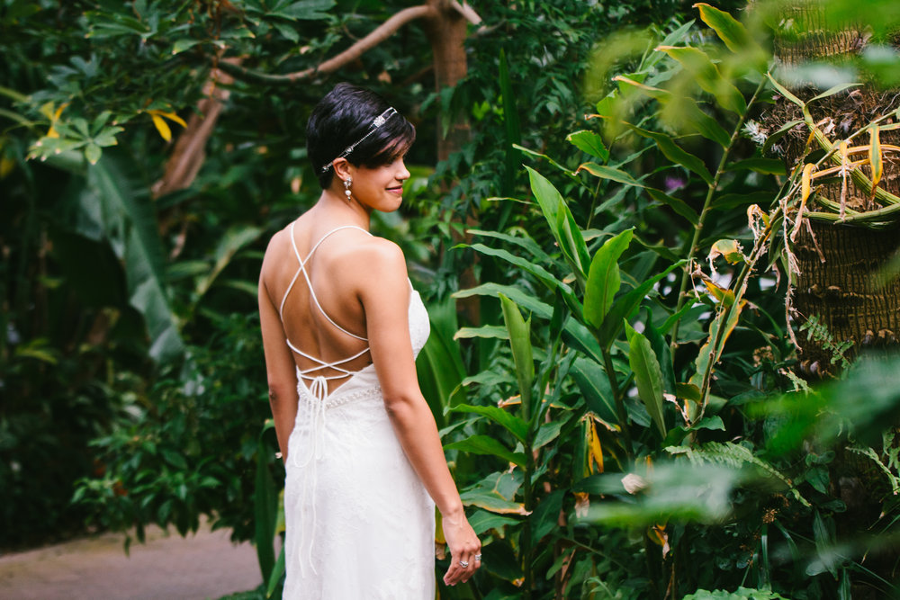 Low Back Wedding Dress - A Botanical Gardens Budget Wedding - From Britt's Eye View Photography