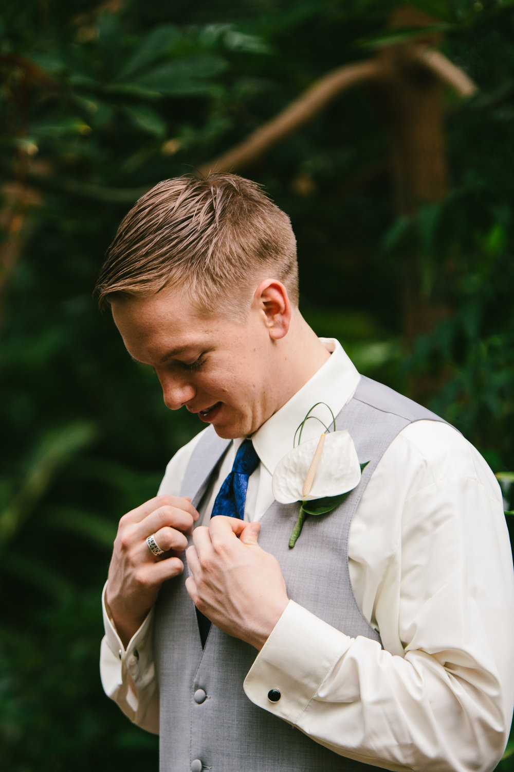 Groom White Boutonnieres - A Botanical Gardens Budget Wedding - From Britt's Eye View Photography