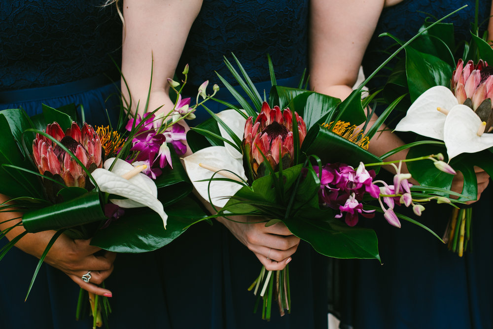 Large Tropical Wedding Bouquets - A Botanical Gardens Budget Wedding - From Britt's Eye View Photography