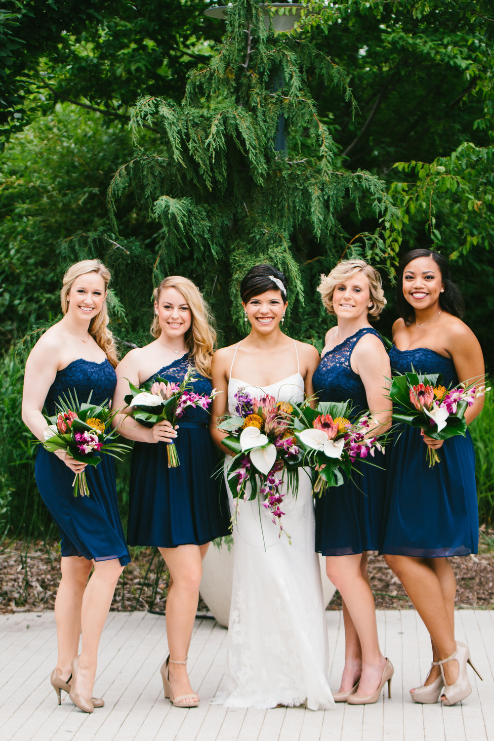Navy Lace Bridesmaid Dresses - A Botanical Gardens Budget Wedding - From Britt's Eye View Photography