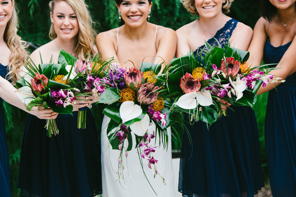 Navy Lace Bridesmaid Dresses - Tropical Wedding Bouquets - A Botanical Gardens Budget Wedding - From Britt's Eye View Photography