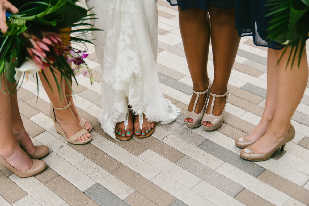 Nude Wedding Shoes - Navy Lace Bridesmaid Dresses - Tropical Wedding Bouquets - A Botanical Gardens Budget Wedding - From Britt's Eye View Photography