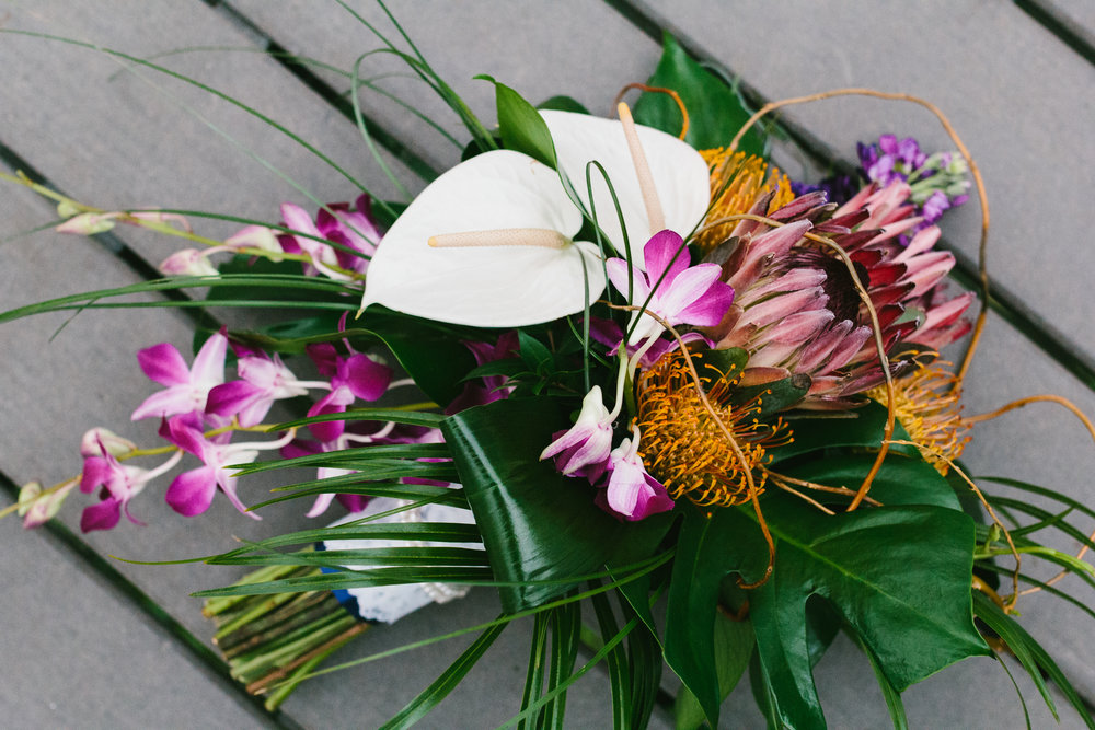 Large Tropical Bridal Bouquet - A Botanical Gardens Budget Wedding - From Britt's Eye View Photography