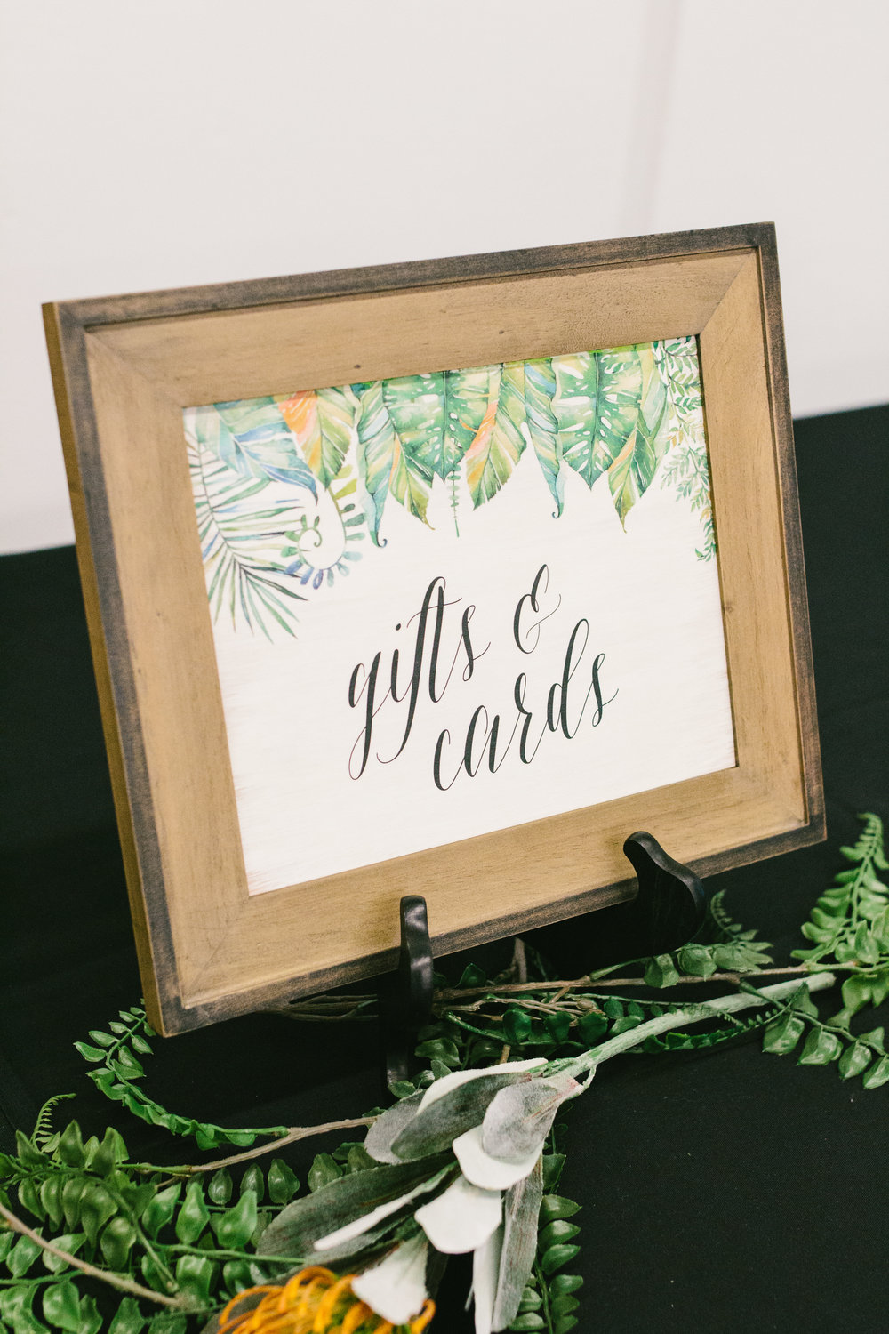 Tropical Wedding Sign - Large Tropical Bridal Bouquet - A Botanical Gardens Budget Wedding - From Britt's Eye View Photography