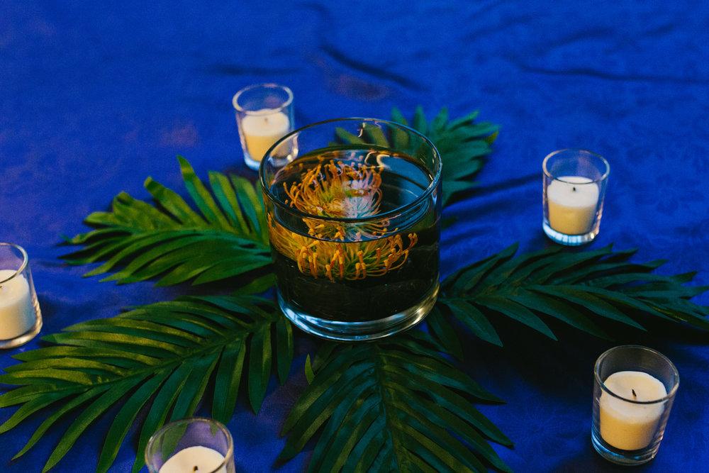 Tropical Wedding Centerpiece - A Botanical Gardens Budget Wedding - From Britt's Eye View Photography