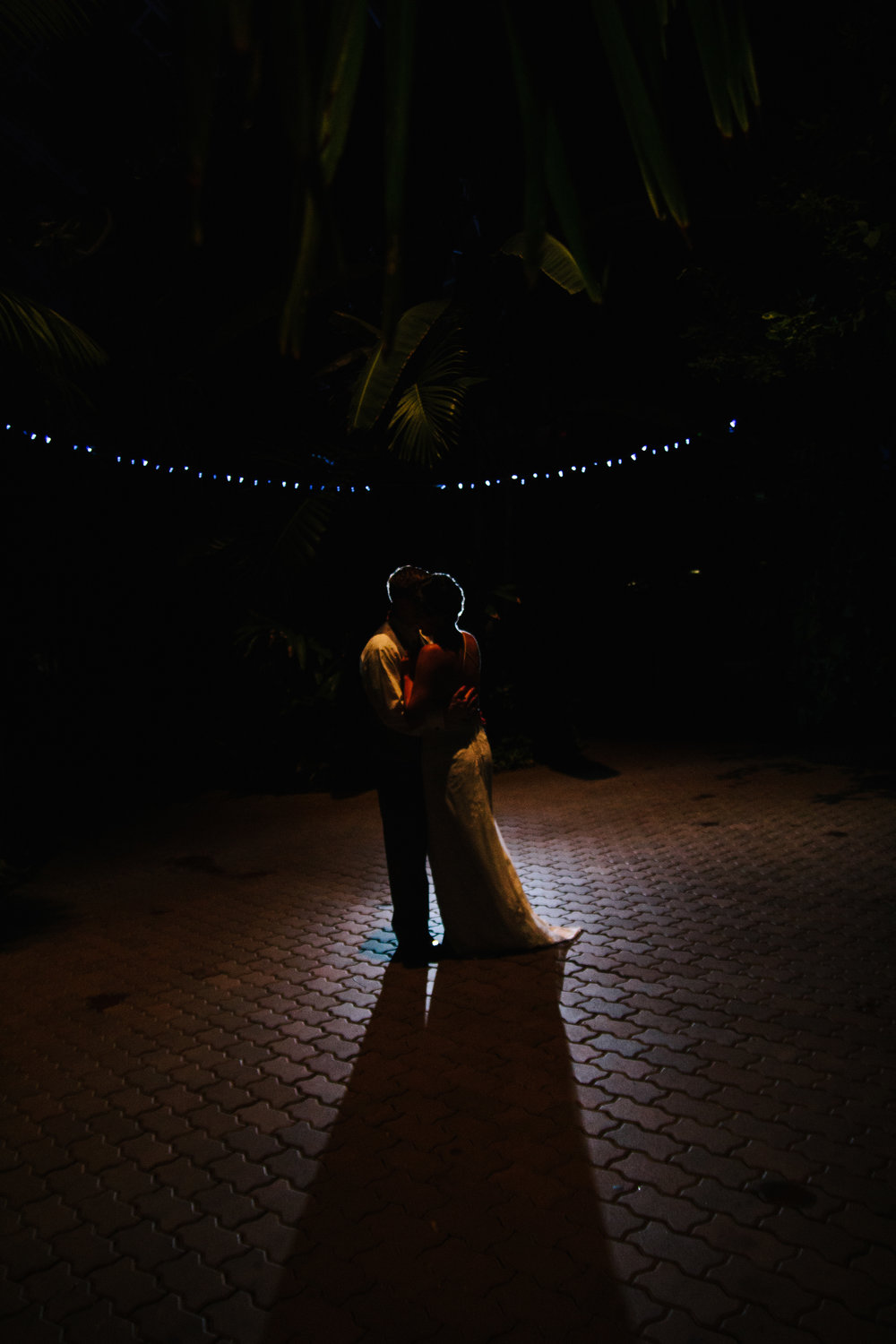 Gorgeous Nighttime Wedding Bride + Groom Photos - A Botanical Gardens Budget Wedding - From Britt's Eye View Photography