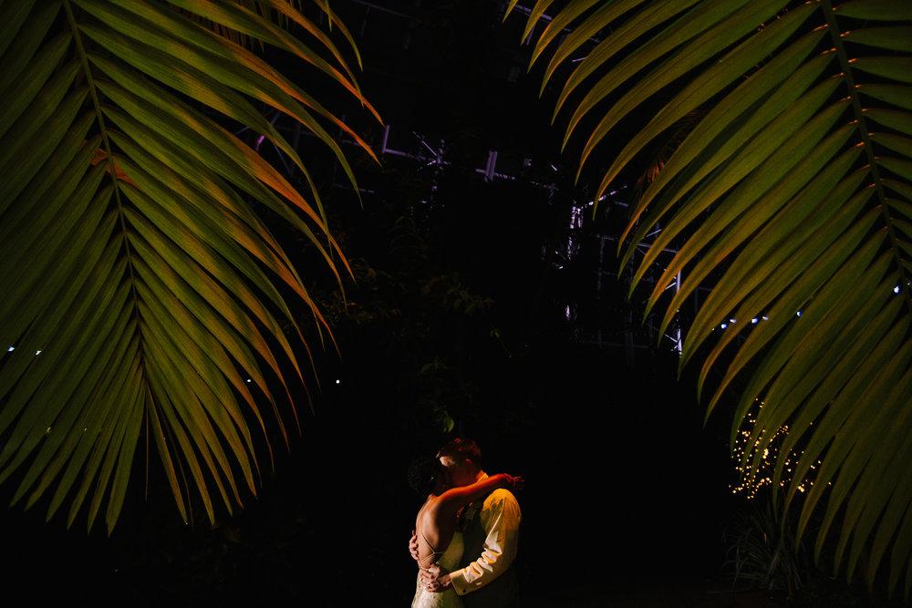 Gorgeous Nighttime Wedding Bride + Groom Photos - A Botanical Gardens Budget Wedding - From Britt's Eye View Photography