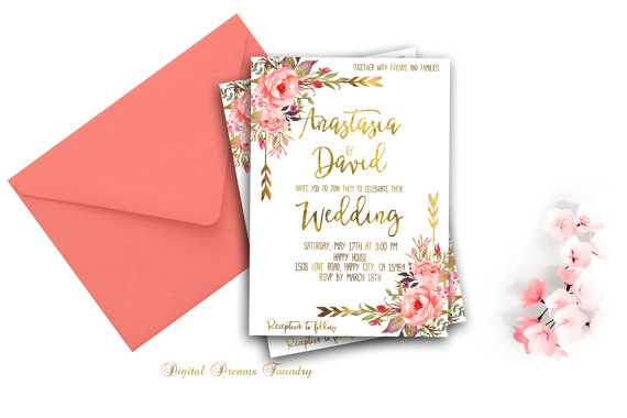 Coral Spring Wedding Invitations