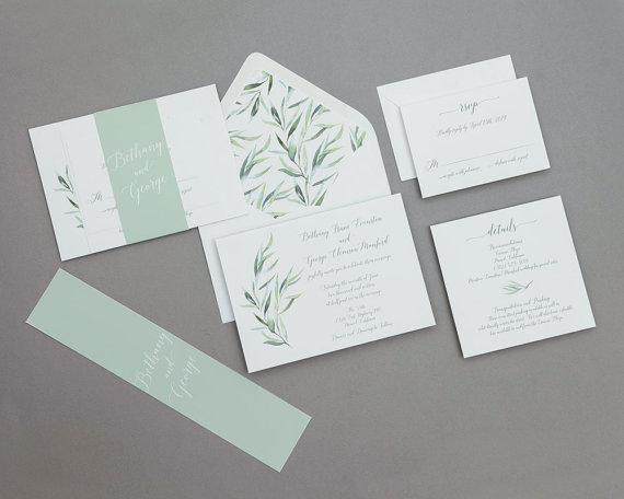 Seafoam Green Spring Wedding Invitations