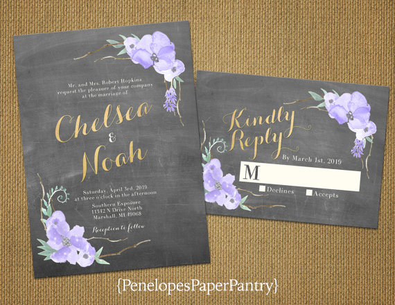 Chalkboard Floral Spring Wedding Invitations