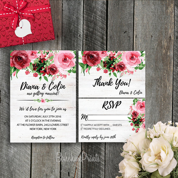 Red and Pink Rose Spring Wedding Invitations