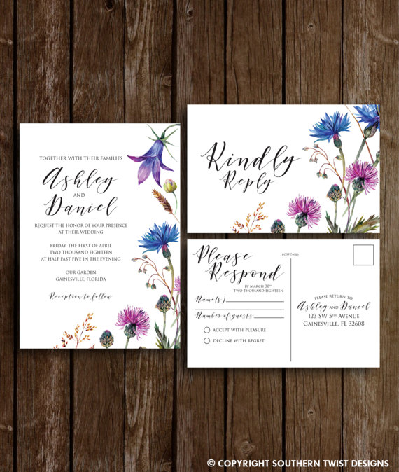 Floral Spring Wedding Invitations