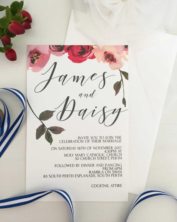 Rose Floral Spring Wedding Invitations